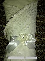 Плед-Конверт для новорожденного осень-зима с бантом(кремовый)