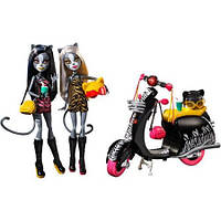 Набор кукол монстер хай Веркошки Мяулодия и Пурсефона на Скутере (Monster High Werecats Sisters and Scooter)
