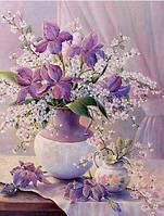 Картина для рисования камнями 30*40 мозаика цветы в вазе