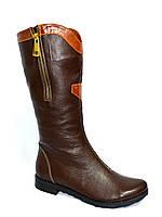 Сапоги кожаные темно-коричневые женские демисезонные., фото 1