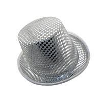 Шляпа Цилиндр блестящая Белая