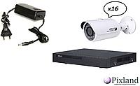 IP комплект видеонаблюдения Dahua 3МП. 16 уличных видеокамер DH-IPC-HFW1300S, видеорегистратор DH-NVR4116H