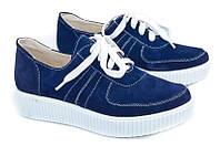 Замшевые синие туфли с шнурками Action
