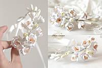 """""""Фрезии с персиковыми тычинками"""" браслет для невесты с цветами"""