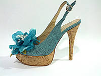 Женские текстильные синие босоножки на высоком каблуке 36 Rima
