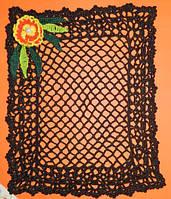 Салфетка скатерть 22X28 cm, , вязаная крючком, ручная работа, подарок женщине на 8 марта