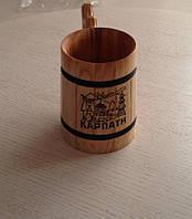 """Кухоль для пива ручної роботи з дерева """"Карпати"""""""