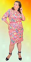 Праздничное женское платье больших размером из принтованого жаккарда в расцветках