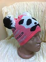 Детская  шапочка Панда с ушками-помпонами  розовая