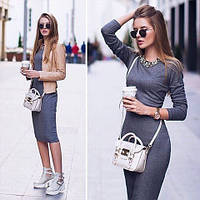 Женское осеннее платье миди длинный рукав