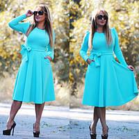 Платье женское с расклешенной юбкой креп-дайвинг универсал 42-48