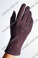 Женские трикотажные перчатки (стрейчевые) коричневые