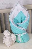 Зимний шерстяной конверт-одеяло на выписку для новорожденного