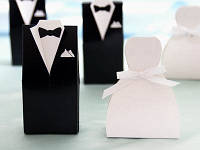 Оригинальные бонбоньерки на свадьбу в виде жениха и невесты, заказать