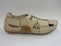Кожаные мужские удобные стильные модные бежевые спортивные сандалии
