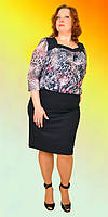 Стильное платье ботал модного кроя верх с цветочным принтом материал гипюр