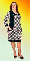 Стильное женское платье с карманами и геометрическим рисунком большого размера