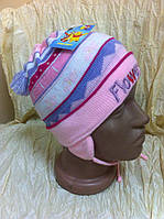 Стильная шапка ушанка  для девочки с ушками кисточкой завязками  отворотом цвет - розовый