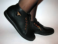 Полуботинки  женские без каблука шнурок