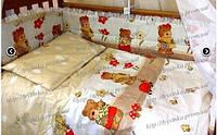 Набор постельногобелья в кроватку из 7 ед с рюшей (Без балдахина). Мишка садовод