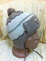 Красивая  шапка ушанка для мальчика двойной вязки с ушками помпоном