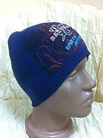 Классная шапка для мальчика одинарная с красивым рисунком цвет- синий