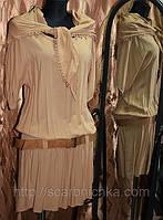 Платье с поясом и шарфиком . самые красивые платья scarbnichka.com.ua