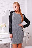 Женское прямое платье, кожа + стеганный дайвинг + трикотаж