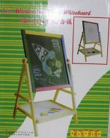 Детская доска для рисования двусторонняя 3 в 1 мел, маркер, магниты