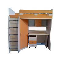 Детская кровать чердак Лео со столом и шкафом