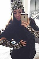 Комплект женская шапка и митенки ангора на флисе леопард