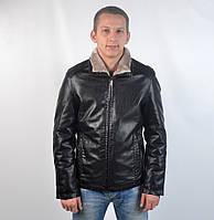 Кожаная теплая мужская зимняя куртка на меху