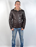 Кожаная теплая мужская зимняя куртка на меху (коричневая)