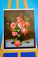 Картина на холсте по номерам Розы