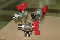 Кран шаровый Double-LIN 1\2 угловой с накидной гайкой для подключения газового котла