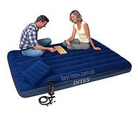 Надувной матрас двуспальный Intex 68765 + ручной насос и 2 подушки