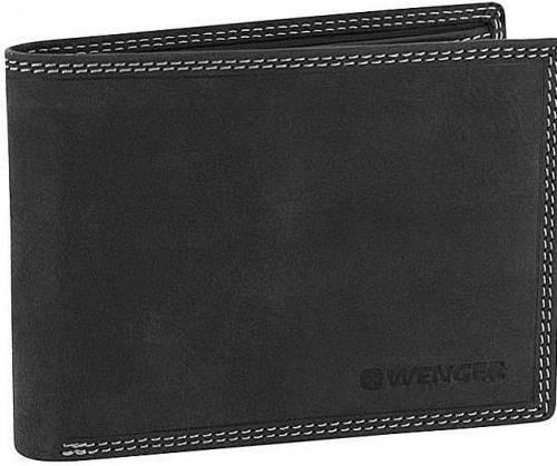 Практичное мужское кожаное портмоне Wenger 5-07BK черный