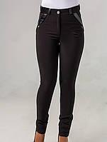 Классические женские брюки со вставками кожзама, фото 1