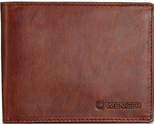 Прочное мужское портмоне из натуральной кожи Wenger W7-04DB коричневый