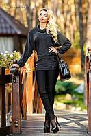 Женская теплая туника из ангоры с кожаными вставками