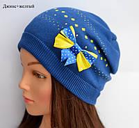 """Детская демисезонная шапка """"Горошек"""" для девочки"""