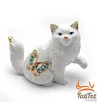"""Статуэтка фарфоровая """" Кошка с бабочкой """" 10,5 см"""
