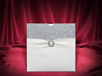 Стильные свадебные приглашения в серебристых тонах, оригинальные пригласительные на свадьбу, купить Киев