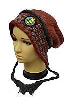 Молодежная шапка с двумя косичками
