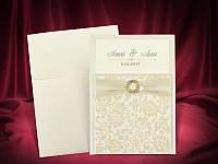 Изысканные свадебные приглашения цвета айвори, печать текста, запрошення на весілля
