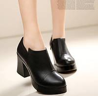 Кожаные туфли на квадратном каблуке