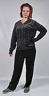 Женский велюровый спортивный костюм больших размеров   (черный леопард)