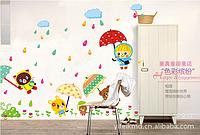 """Наклейка на стену, наклейки детские на шкафчик """"зверята под дождиком"""" (лист45см*60см)"""