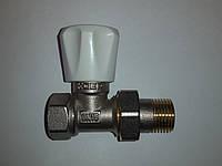 Кран радиаторный с белой ручкой 1/2 верхний прямой Koer