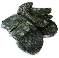 Перчатки-варежки флисовые для рыбалки (камуфляж woodland)